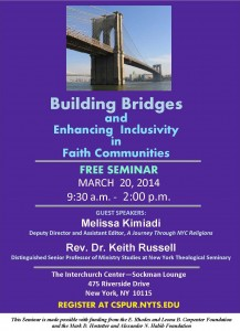 Building Bridges Seminar Flyer logos outside G w speakers